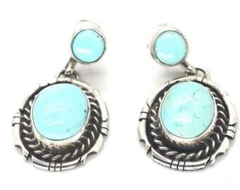 Navajo Handmade Dry Creek Turquoise Sterling Silver Earrings- Betta Lee