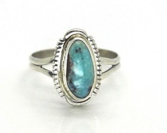 Navajo Handmade Dry Creek Turquoise Sterling Silver Ring Size 9- Larry M. Yazzie