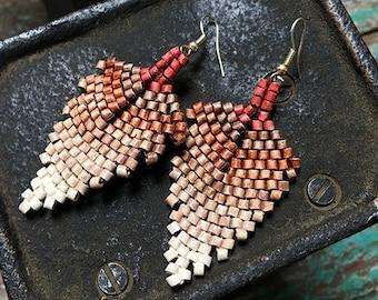 Handmade Rust to Natural Faded Ceramic Beaded Leaf Earrings