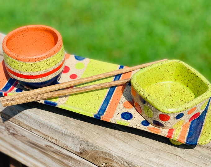 Funky Handmade Stoneware Sushi Set