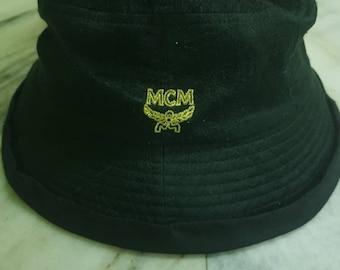 d304b5a9ef1bf Authentic Vintage MCM Big Logo Bucket Hat Black