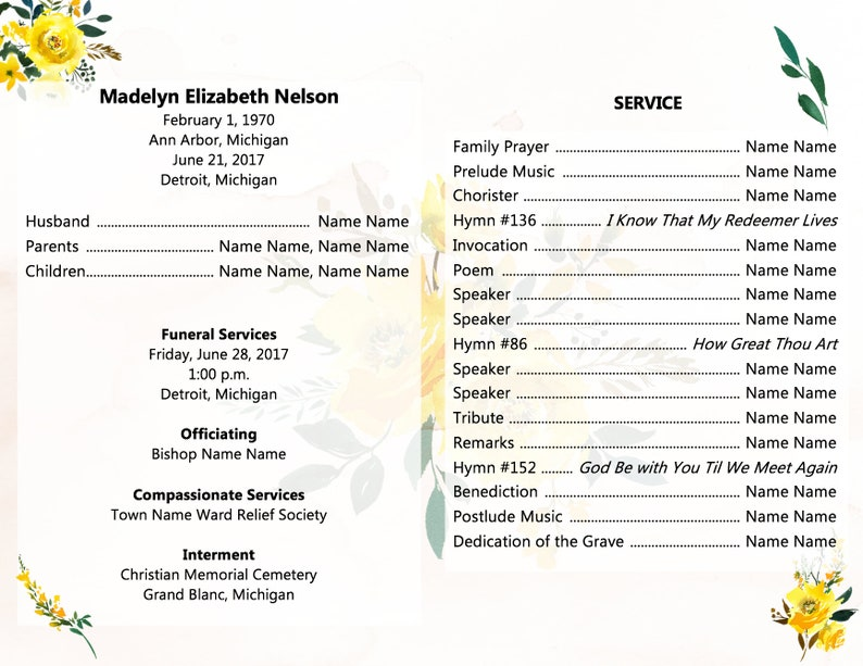 LDS Funeral Program Template Celebration of Life The Church of Jesus Christ  of Latter-Day Saints Funeral Template Funeral Printable Mormon