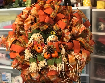 Fall Autumn wreath with scarecrows