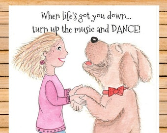 music, dance, dog card; watercolor whimsy