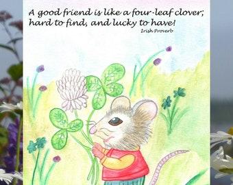 Lucky mouse - good friend card