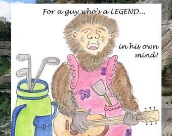 Legend card - gorilla, chef, guitar, golf