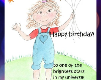 Birthday star card; watercolor whimsy