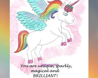 sparkly, rainbow unicorn card