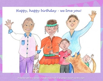 birthday love card, rainbow family - watercolor whimsy