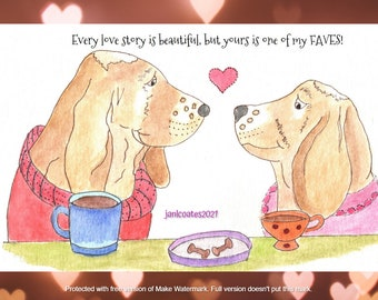 favorite love story card - dogs, watercolor whimsy