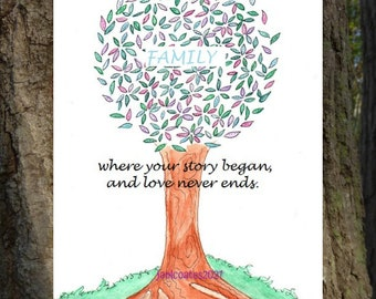 Family tree card - soul smiles watercolor whimsy