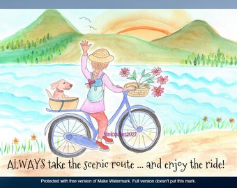 woman, dog, bike card - scenic route, watercolor whimsy