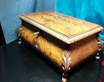 Antique Furniture Antiques Miniature Wooden Table Jewellery Music Box Reproduction