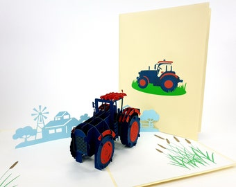 anniversary Baby shower Tractor Pop Up Kirigiami 3D Cards Handmade uniqe  Birthday Wedding mother/'s day father/'s day