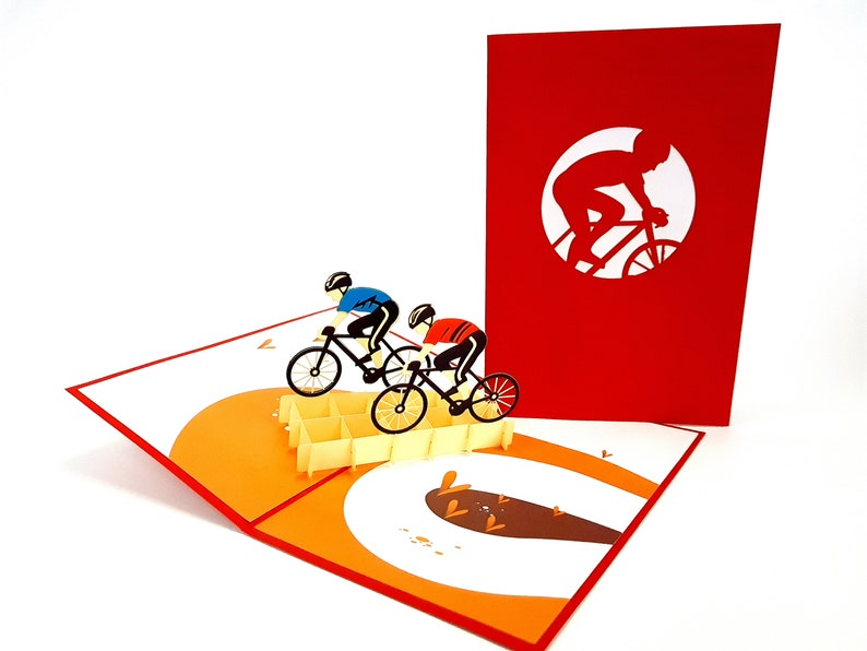 seasonal Wedding mother/'s day Cycling Team Pop Up Kirigiami 3D Cards Handmade uniqe  Birthday Baby shower anniversary father/'s day