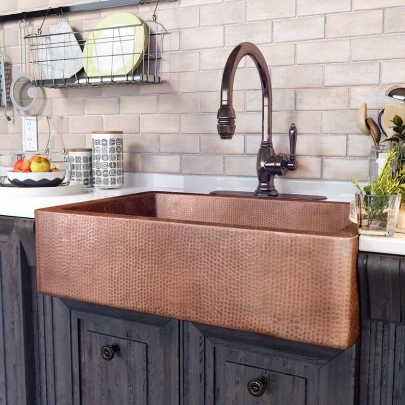 Terrific Farmhouse Kitchen Sink Hammered Copper Sink Made To Order Download Free Architecture Designs Scobabritishbridgeorg