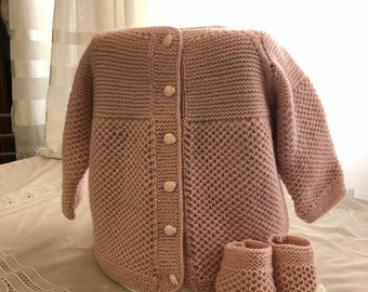 Handmade baby girl knitted cardigan