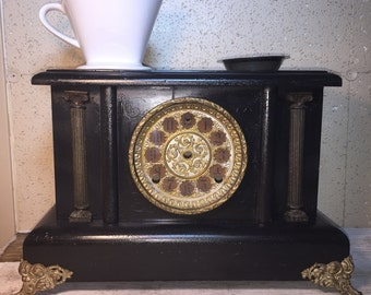 Coffee Tea Double Pour Over Stand with Storage, Made From Antique Mantel Clock Case