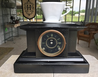 Pour Over Stand with Storage, for Coffee and Tea, from Antique Mantel Clock Case