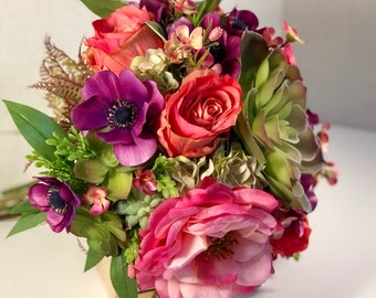 Wedding Bouquet • Succulents + Silk Flowers • Bright / Bold - Pink, Green, Purple