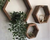 Set of 3 Hexagon floating shelves floating shelf floating shelves 3 pack of shelves hexagon shelf wooden shelves rustic shelves