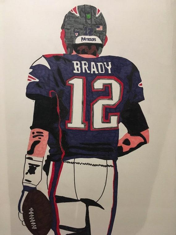371750c5f Tom Brady New England Patriots NFL handmade pop art drawing a2