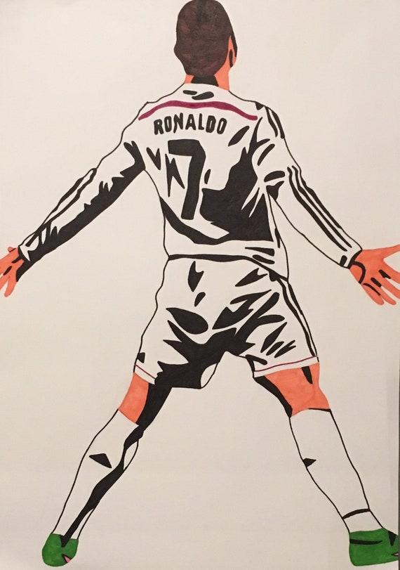 Cristiano Ronaldo Real Madrid Handmade Pop Art Drawing A2 Etsy