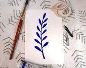 Handmade Watercolor Floral Card- Original in Ultramarine Blue