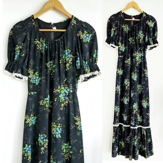 70s black floral maxi prairie style dress