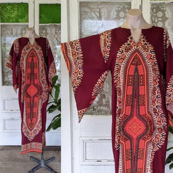 Vintage 70s Dashiki Kaftan | Blockprint Maxi | Ang