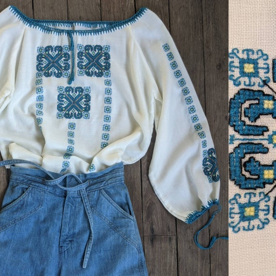 70s Embroidered Romanian Peasant Blouse