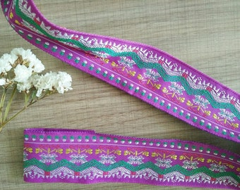 Ribbon trim embroidered ethnic Hmong from the mountains of northern Thailand 40 mm purple - sold by the yard