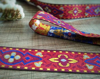 Ribbon trim embroidered ethnic Hmong from the mountains of northern Thailand 24 mm - sold by the yard