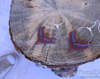 Macrame earrings with Green Agate Stone/925 silver