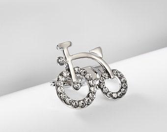 317416ffa0e Crystal Bicycle Brooch Pin, Crystal Shirt Collar Pin, Lovely Pin, Rhinestone  Brooch, Decorate Collar Pin, Clothing Accessories