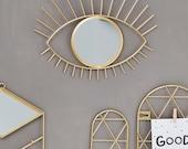 Decor Eye Mirror Gold Round Wall Mirror Bohemian Home Decor Hanging Mirror Boho Decor