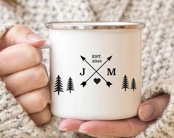 Campfire Mug Enamel Personalised Camper Mug   10th Anniversary Gift   Tin Year Gift   Personalised Rustic Wedding Gift Travel Gift