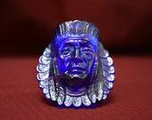 Iridescent Carnival Glass Blue Native American in Headdress toothpick holder - Pisello Art 1985 - Vintage Curio Decor - Indigenous People