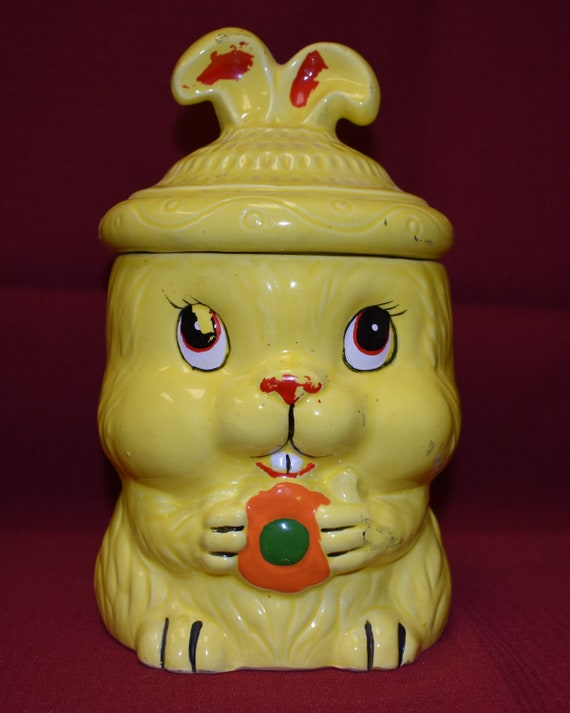 Vintage Ceramic Yellow Easter Bunny With Carrot Cookie Jar Etsy