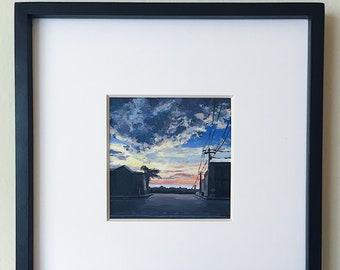Street Silhouette Acrylic Painting
