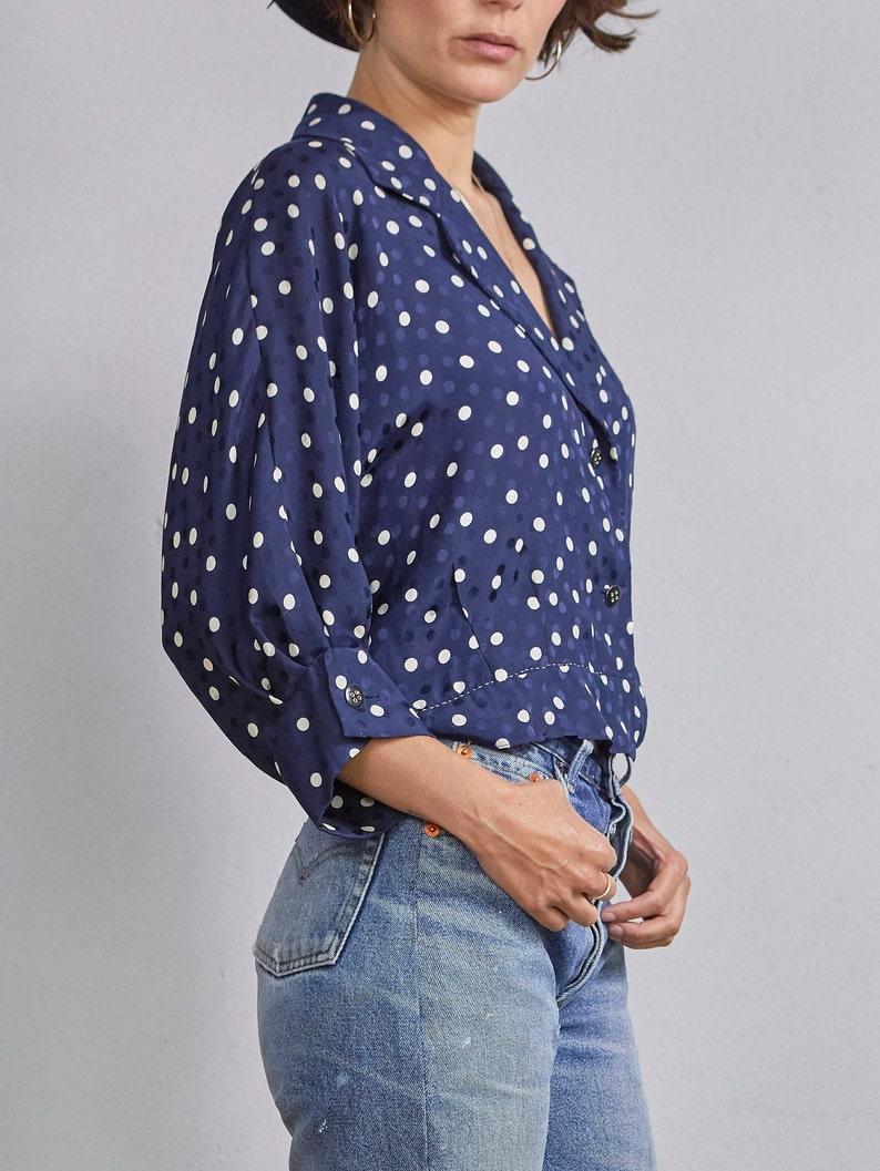 Navy blue and white polkadot handmade VTG blouse