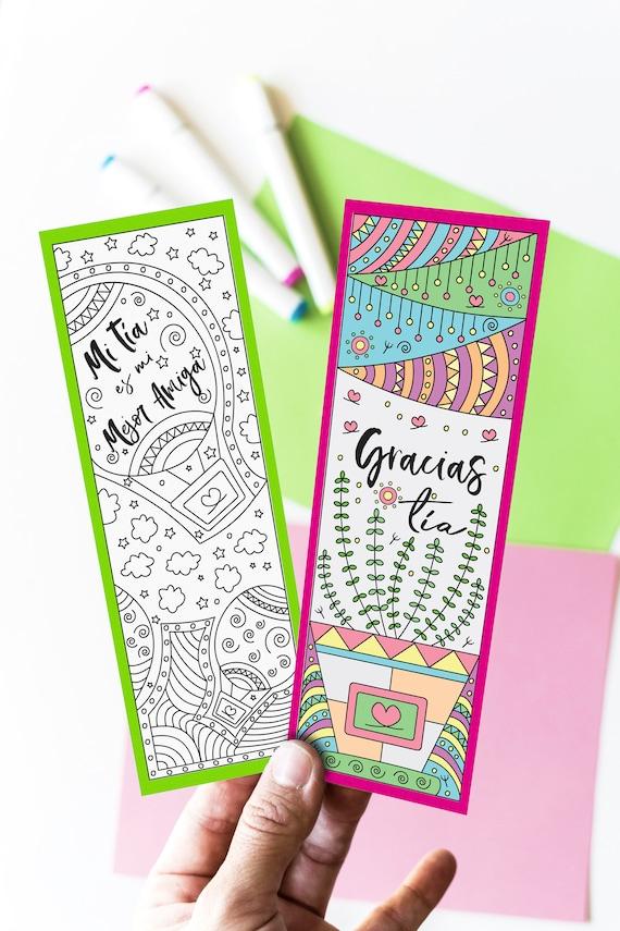 Separador De Libros para Tias para Colorear y en Color 24 | Etsy