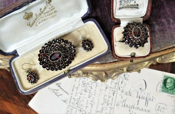Beautiful Antique Bohemian Garnet Jewellery Set-Bo