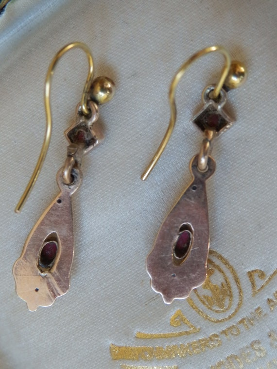 Pretty Antique Victorian Gold Drop Earrings With … - image 7