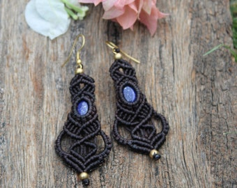 Boho Art-Deco Egyptian revival earrings-lapis lazuli drop and cabochon-antique bronze brass scarab-beetle and stone