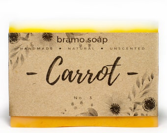 Carrot Soap - All Natural Soap, Homemade Soap, Unscented Soap, Vegan Soap, Homemade Soap, Organic Soap, All skin types Soap, Rustic Soap