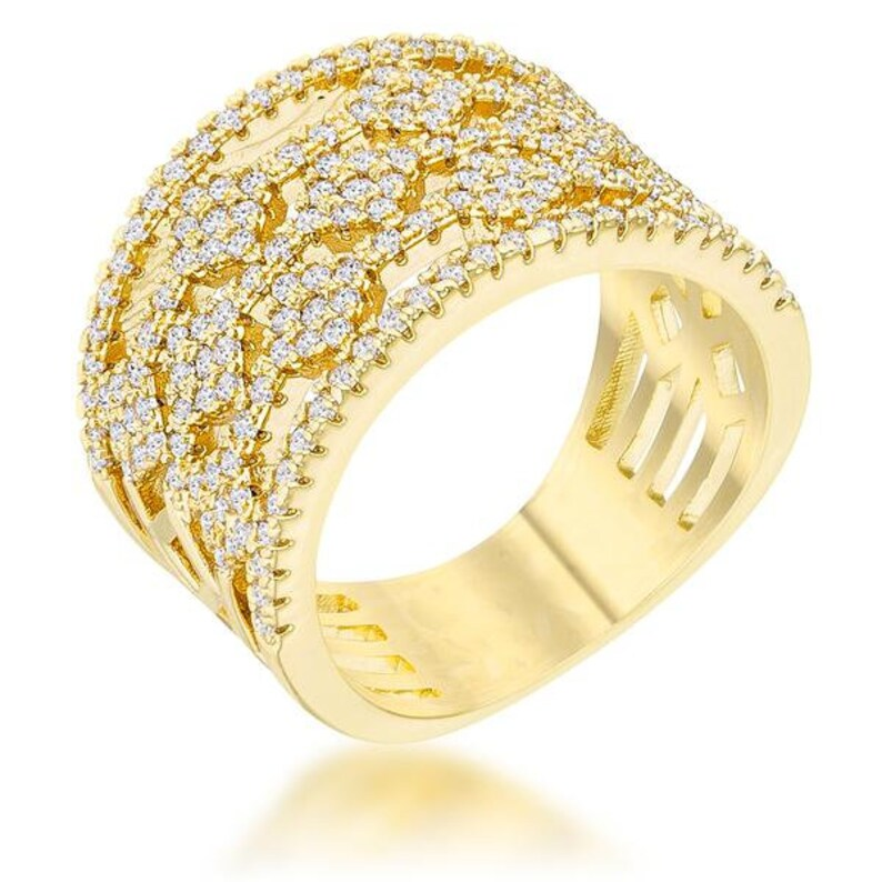 0.6ct CZ 14k Gold Wide Band Cocktail Ring