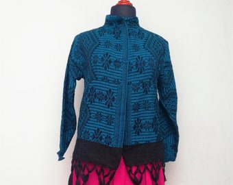 Rebozo sweater Mexican gaban type sweater round neck blazer Mexican blazer. Mexican handmade sweater