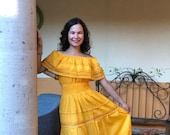 Traditional mexican longn dress, mexican long dress, peasant dress, strapless dress, ethnic dress,.