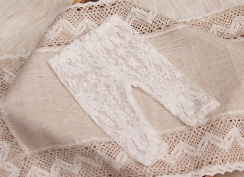 2670c7a9834 Newborn Baby photo prop ivory lace leggings LORETTA